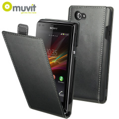 Muvit Slim Leather Style Flip Case for Sony Xperia L - Black