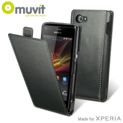 Muvit Slim Leather Style Flip Case for Sony Xperia M - Black