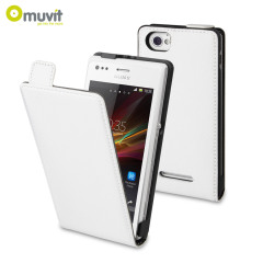 Muvit Slim Leather Style Flip Case for Sony Xperia M - White