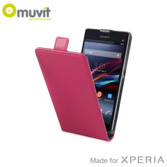 Muvit Slim Leather Style Flip Case for Sony Xperia Z1 Compact - Pink