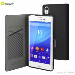 Muvit Slim S Folio Sony Xperia M4 Aqua Wallet Case - Black