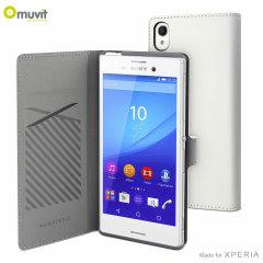 Muvit Slim S Folio Sony Xperia M4 Aqua Wallet Case - White