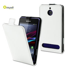Muvit Sony Xperia E1 Slim Leather-Style Flip Case - White