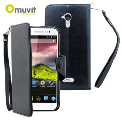 Muvit Wallet Folio Case for Wiko Cink Five - Black