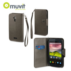 MUVIT Wallet Folio Case for Wiko Cink Five - Grey