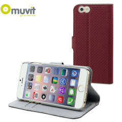Muvit Wallet Folio iPhone 6 Case and Stand - Dark Red