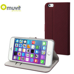 Muvit Wallet Folio iPhone 6 Plus Case and Stand - Dark Red