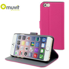 Muvit Wallet Folio iPhone 6 Plus Case and Stand - Pink