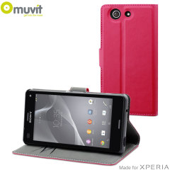 Muvit Wallet Folio Sony Xperia Z3 Compact Case and Stand - Pink