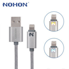 Nohon Lightning Charge & Sync Cable with Charging Status LED - Silver
