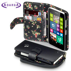 Nokia Lumia 630 / 635 Leather-Style Wallet Case - Floral Black