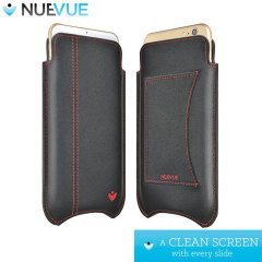 NueVue Leather iPhone 6 Cleaning Case - Black w/ Card Holder