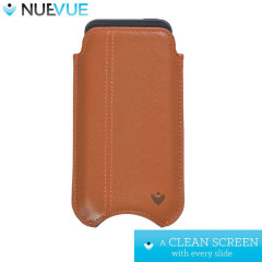 NueVue Leather iPhone 6S / 6 Cleaning Case - Tan w/ Purple