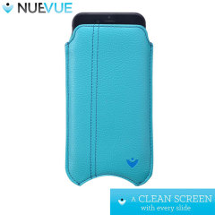 NueVue Leather Style iPhone 6 Cleaning Case - Teal With Tan