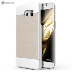 Obliq Slim Meta Samsung Galaxy S6 Edge Plus Case - White / Gold