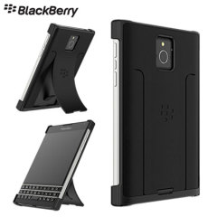 Official BlackBerry Passport Leather Flex Hard Shell Case - Black