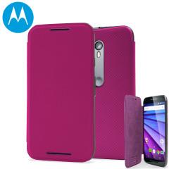 Official Motorola Moto G 3rd Gen Flip Shell Cover - Raspberry