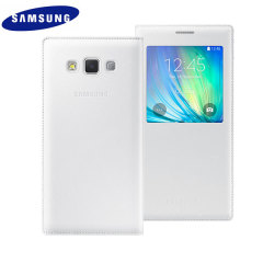 Official Samsung Galaxy A7 2015 S View Flip Cover - White