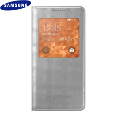 Official Samsung Galaxy Alpha S-View Premium Cover Case - Silver