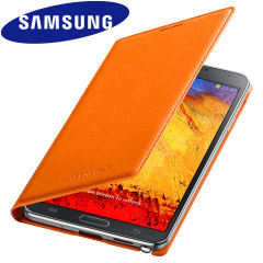 Official Samsung Galaxy Note 3 Flip Wallet Cover - Wild Orange