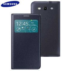 Official Samsung Galaxy S3 Neo S View Premium Cover Case - Indigo Blue