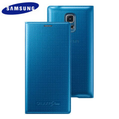 Official Samsung Galaxy S5 Mini Flip Case Cover - Dimpled Blue