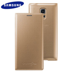 Official Samsung Galaxy S5 Mini Flip Case Cover - Dimpled Gold