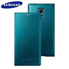 Official Samsung Galaxy S5 Mini Flip Case Cover - Metallic Green