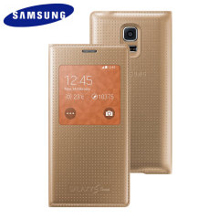 Official Samsung Galaxy S5 Mini S-View Premium Cover - Dimpled Gold