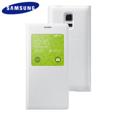 Official Samsung Galaxy S5 Mini S-View Premium Cover - Dimpled White