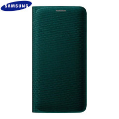 Official Samsung Galaxy S6 Edge Flip Wallet Fabric Cover - Green