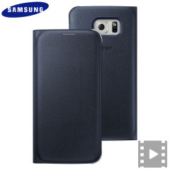 Official Samsung Galaxy S6 Flip Wallet Cover - Blue / Black