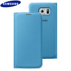 Official Samsung Galaxy S6 Flip Wallet Fabric Cover - Blue