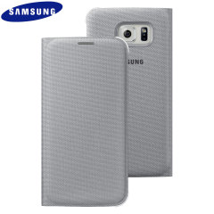 Official Samsung Galaxy S6 Flip Wallet Fabric Cover - Silver
