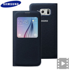 Official Samsung Galaxy S6 S View Fabric Premium Cover Case - Black