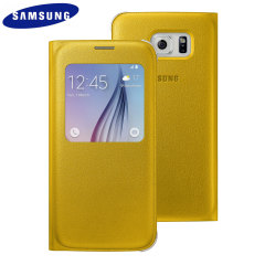Official Samsung Galaxy S6 S View Premium Cover Case - Yellow