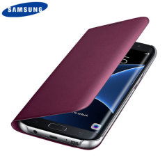 Official Samsung S7 Edge Flip Wallet Cover - Ruby Wine