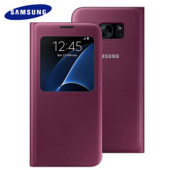 Official Samsung S7 Edge S View Cover - Ruby Wine