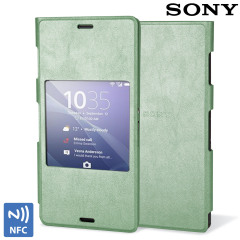 Official Sony Xperia Z3 Style Cover with Smart Window - Silver Green