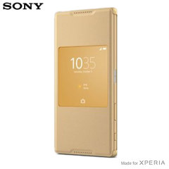 Official Sony Xperia Z5 Premium Style Cover Smart Window Case - Gold