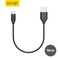 Olixar 10cm Micro USB Sync and Charge Cable - Black