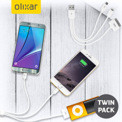 Olixar 4-in-1 Charge & Sync Cable (Apple, Micro USB) - Twin Pack