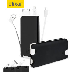 Olixar 6000mAh High Capacity Power Bank with Built-in Cable - Black