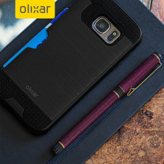 Olixar Brushed Metal Card Slot Samsung Galaxy S7 Case - Black