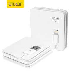 Olixar Charge & Sync Lightning Cable with 1500mAh Power Bank - White