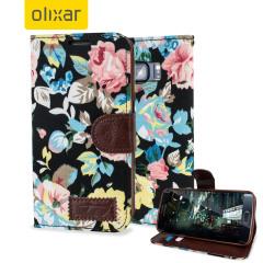 Olixar Floral Fabric Samsung Galaxy S6 Edge Wallet Case - Black