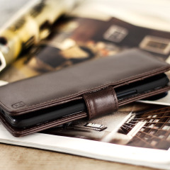 Olixar Genuine Leather HTC 10 Wallet Stand Case - Brown