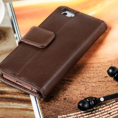 Olixar Genuine Leather iPhone SE Wallet Case - Brown