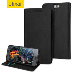 Olixar Leather-Style HTC One A9 Wallet Stand Case - Black
