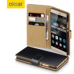Olixar Leather-Style Huawei P8 Wallet Case - Black / Tan